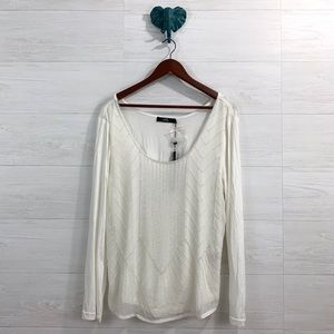 BKE Tops - BKE Boutique Ivory Delicate Beaded Blouse Top